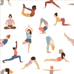 Pattern with women practicing yoga. Isolated female in different yoga poses on white background. Healthy lifestyle. Hand drawn flat coloured vector illustration