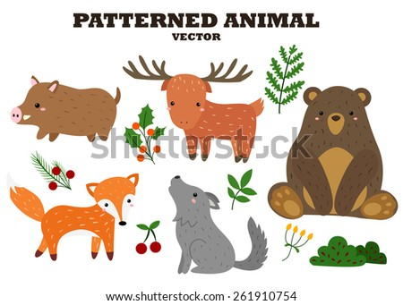 patterned animal vector set