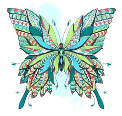 Patterned butterfly on the watercolor background. Ornate moth. Papillon. Tattoo design. It may be used for design of a t-shirt, bag, postcard, a poster and so on