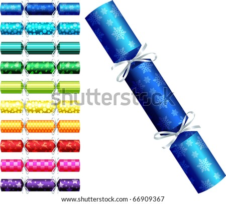 Patterned Christmas crackers in a variety of colours on a white background.