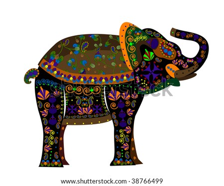 stock vector : patterned elephant from different elements in the ethnic style on a white background