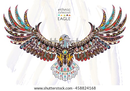 Stock Photo Patterned flying eagle on the watercolor background. African / indian / totem / tattoo design. It may be used for design of a t-shirt, bag, postcard, a poster and so on.