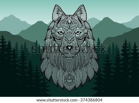 patterned head of a wolf