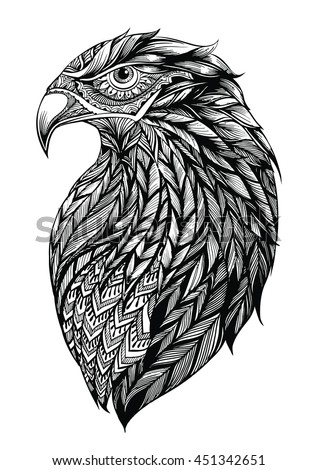 stock-vector-patterned-head-of-eagle-black-and-white-zentangle-art-ethnic-patterned-illustration-for