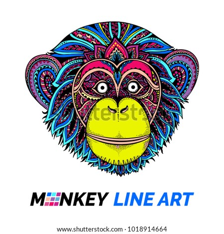 Patterned head of Monkey Gorilla chimpanzee and white zentangle art. Ethnic patterned illustration for antistress coloring book, tattoo, poster, print, t-shirt.