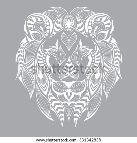 patterned head of the lion on