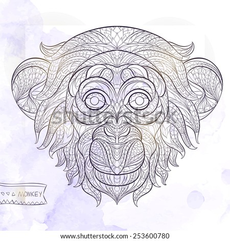 patterned head of the monkey on
