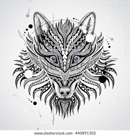 Patterned head of the wolf on white background. African / indian / totem / tattoo design. It may be used for design of a t-shirt, bag, postcard, a poster and so on.