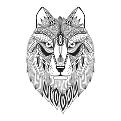 Patterned head of the wolf, vector illustration in zentangle style. Sketch for adult antistress coloring page, tattoo, poster, print, t-shirt and so on.