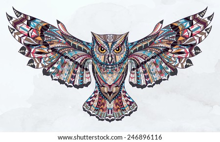 patterned owl on the grunge