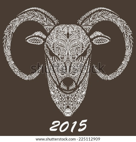 Patterned Rams Head Symbol Of The New Year Christmas Background