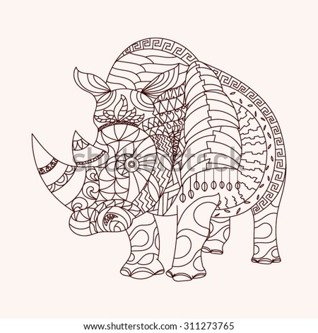 patterned rhino zentangle style