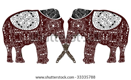 patterned two elephants facing each other constitute the ethnic pattern