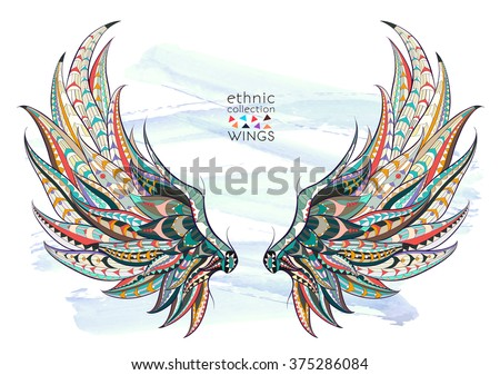 Stock Photo Patterned wings on the grunge background. African / indian / totem / tattoo design. It may be used for design of a t-shirt, bag, postcard, a poster and so on.