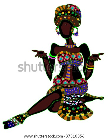 stock vector : patterned woman in ethnic style, sitting on a white background