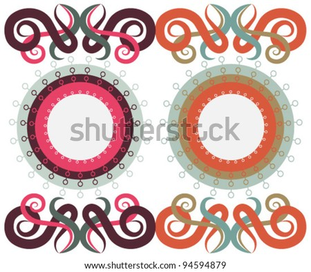 Patterns of circles and monograms, two color options