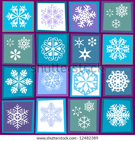 patterns of snowflakes in stylized squares