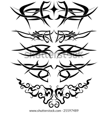 Patterns Of Tribal Tattoo For Design Use Stock Vector 25597489