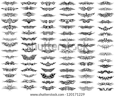 Patterns of tribal tattoo set. Fully editable EPS 8 vector illustration.