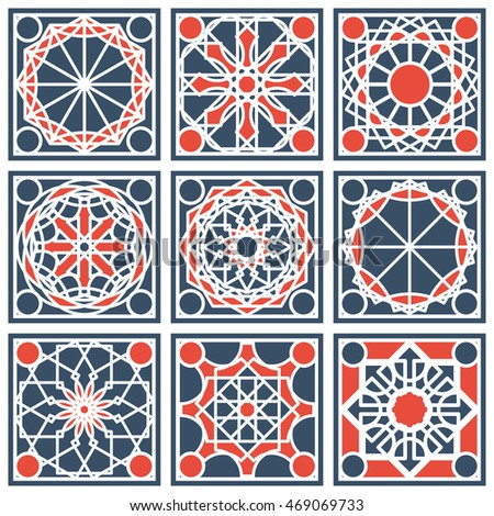 Patterns set with arabic geometric ornaments vector collection