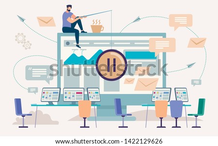 Pause, Coffee Break in Office Work,Flat Vector Concept. Man Sitting on Edge of Computer Monitor, Holding Pause Sign on Fishing Rode Line, Empty Workplaces with Computer Screens on Desks Illustration Stock fotó ©