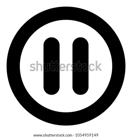 Pause icon black color in circle