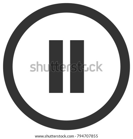 Pause icon in circle. Media player control button. Vector.