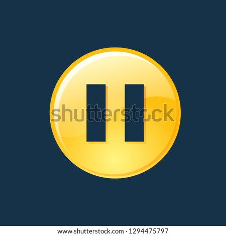 pause icon, pause symbol. Flat vector sign isolated on blue background. Simple vector illustration for graphic and web design.