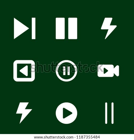 pause icon set. play next button,pause symbol,flash,video camera with play button,rounded pause button concept. Modern pause icons. filled style bestseller of pause illustrations.