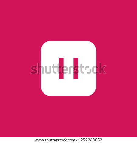 pause icon vector. pause sign on pink background. pause icon for web and app