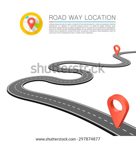Paved path on the road, Curved road markings, Vector background