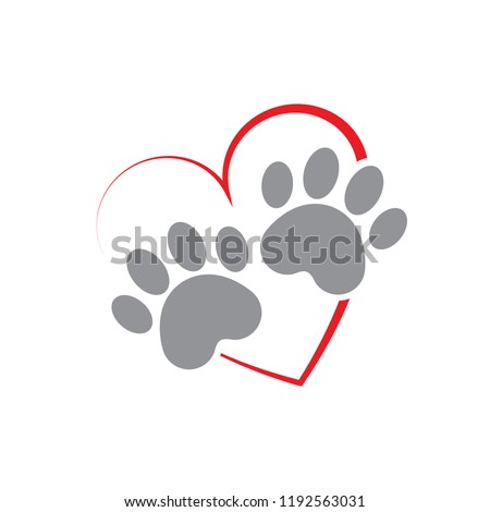 Paw and heart logo