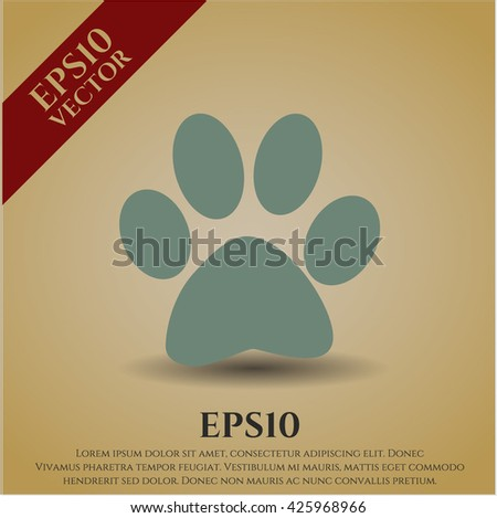paw icon vector symbol flat eps jpg app web concept website