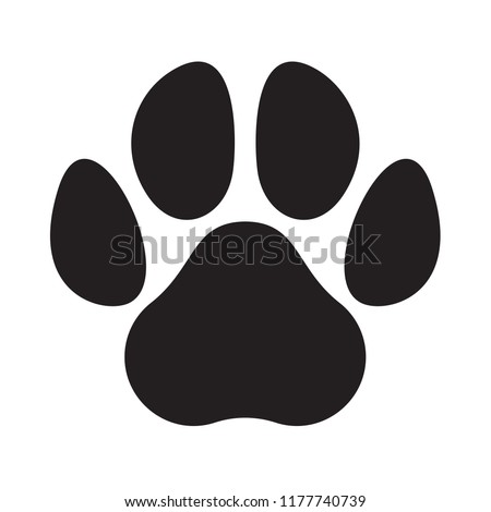 Paw logo or cat and dog animal pet vector paw footprint icon