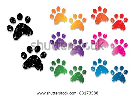 paw print collection - stock vector