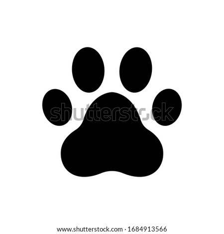 Paw print, Footprint icon vector isolated
