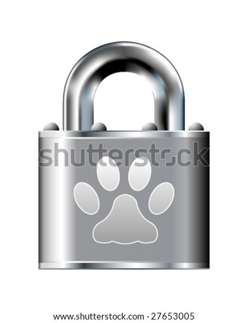 Paw print icon on stainless steel padlock vector button
