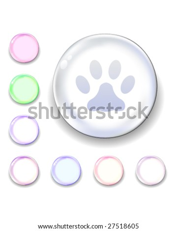 Paw print icon on translucent glass orb vector button