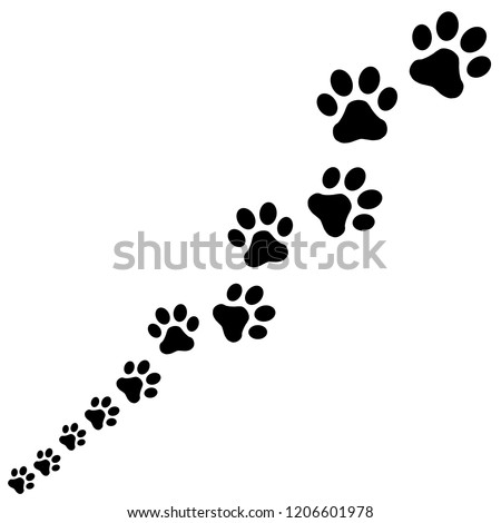 Paw Print icon. Row together Vector illustration