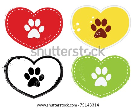 Paw Print Icons - stock vector