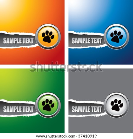 paw print multicolored ripped banners