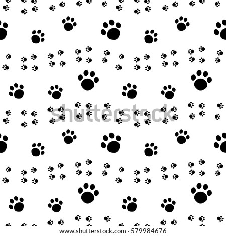 Paw print seamless pattern isolated on white background.