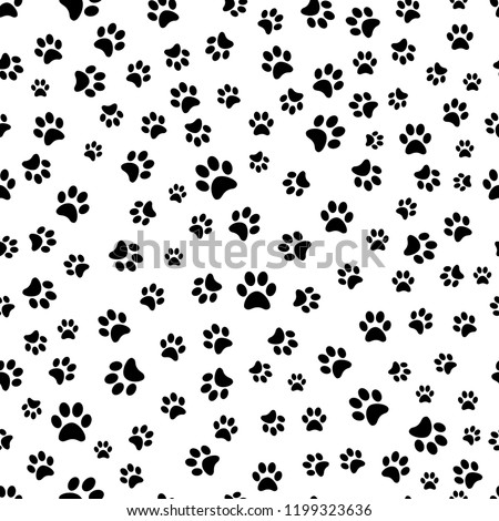Paw print seamless pattern. Traces of Cat Textile Pattern