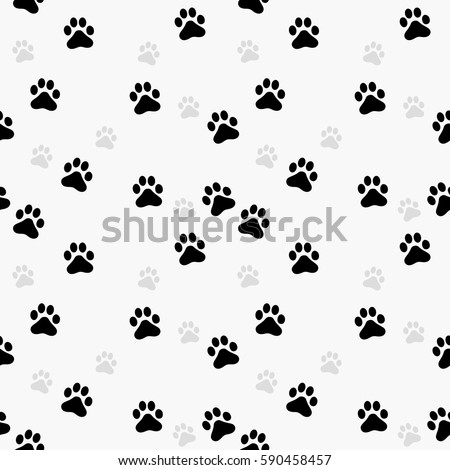 Paw print seamless. Traces of Cat Textile Pattern. Vector seamless.
