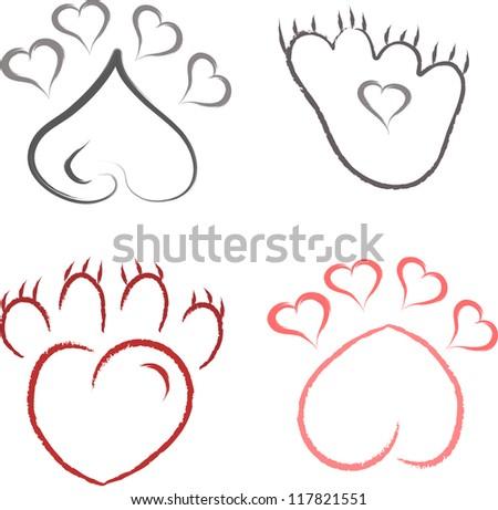 paw print set - stock vector