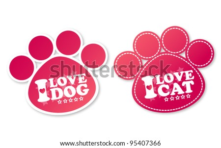 Paw print stickers with text I love dog and I love cat - stock vector
