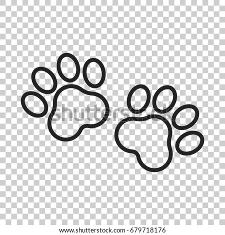 Paw print vector icon in line style. Dog or cat pawprint illustration. Animal silhouette.