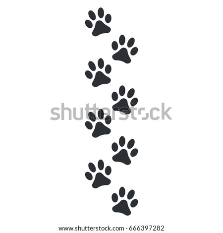 Paw print vector illustration isolated on white background