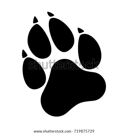 Paw Prints. Dog or cat paw print flat icon for animal apps and websites.