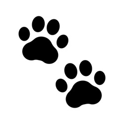 Paw prints. Icon dog puppy and cat. Footprint pet. Foot puppy isolated on white background. Black silhouette paw. Cute shape paw print. Walk pets for design . Animal paw track. Trace walks. Vector